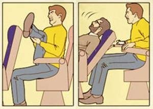 Left: tall person in a plane struggling to find space for his legs. Right: Person in front of the tall person declining his seat.