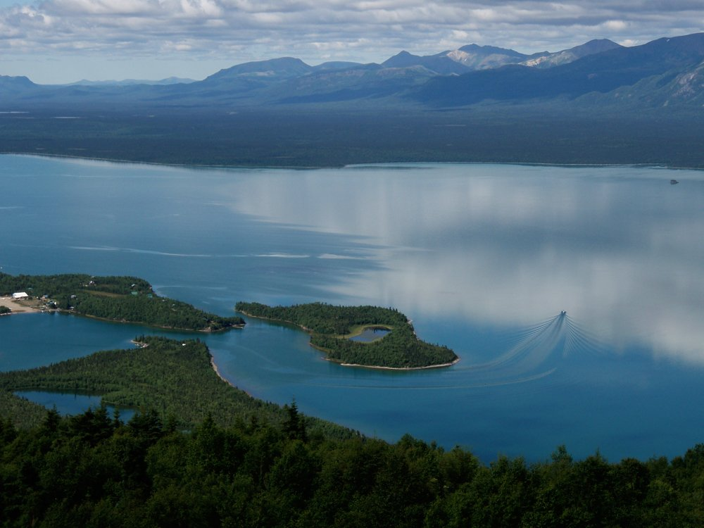 Lake Clark with the village of Port Alsworth on the right