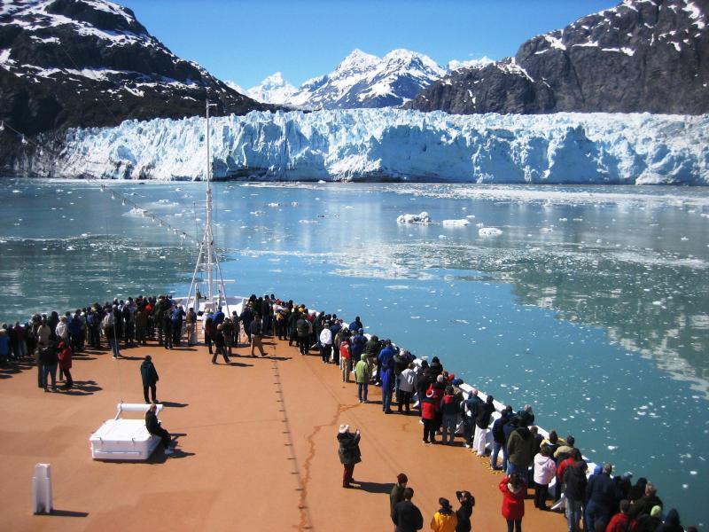 Cruise Passengers visit a tidewater glacier in Alaska's Glacier Bay National Park