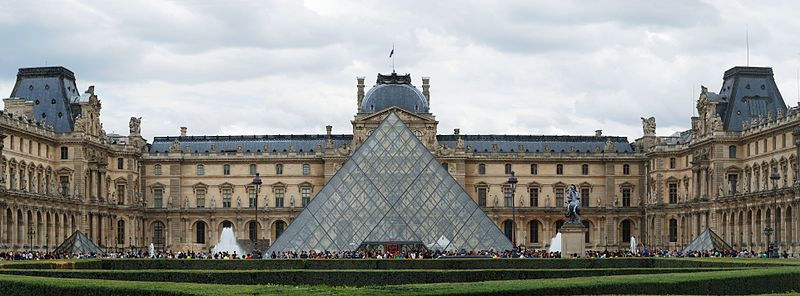 The Louvre in Paris with its glass pyramid main entrance (WikiMedia)