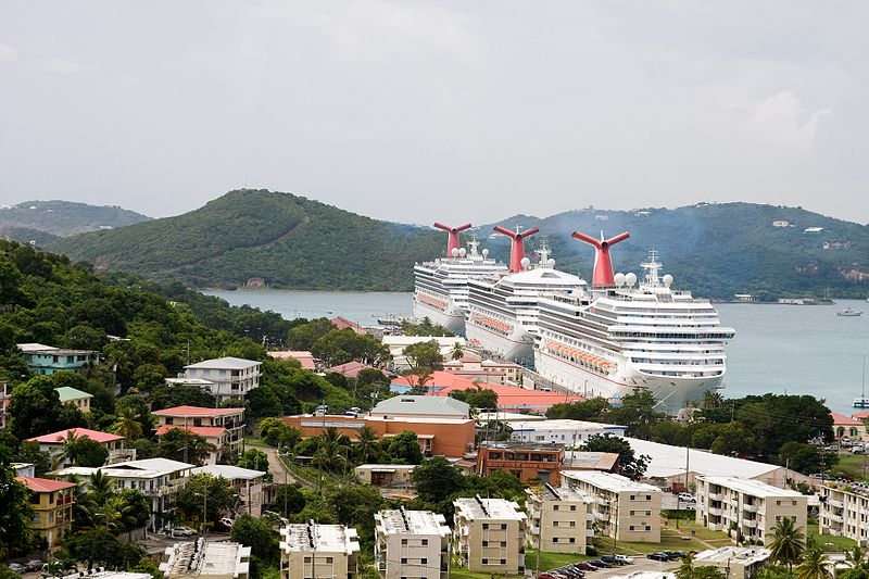 Nearly 9,000 passengers from three Carnival ships visit St. Thomas in the U.S. Virgin Islands. (Wikimedia)