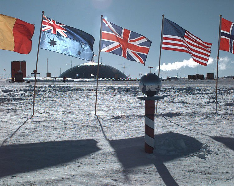 The ceremonial South Pole at Amundsen-Scott Station, Antarctica (Wikimedia)