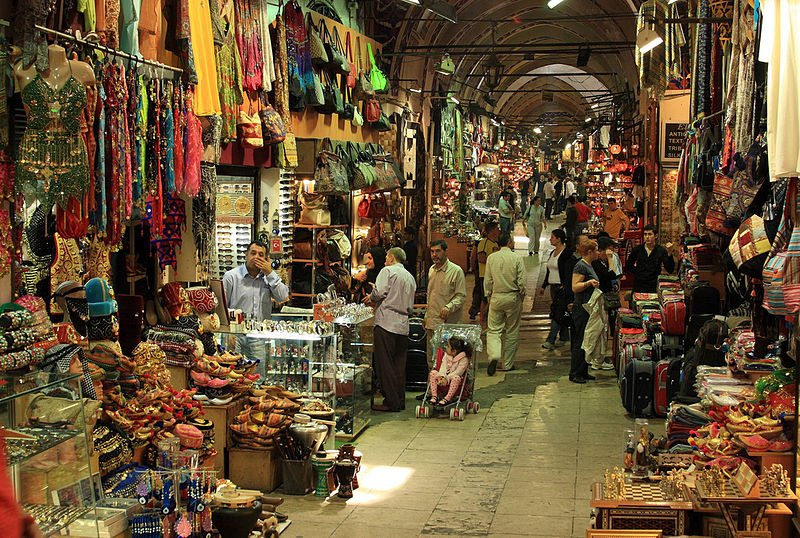 People shop at the Grand Bazar in Istanbul, Turkey, one of the largest covered markets in the world.